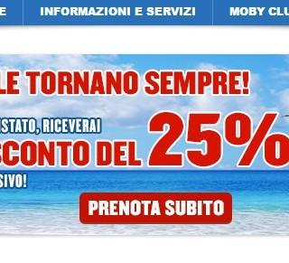 Buono sconto Moby del 25% per tutte le destinazioni